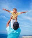 Father And Son At The Beach Royalty Free Stock Images - 52588109