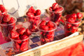 Strawberry In Plastic Cups At Street Market Stock Images - 52596004