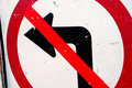 No Left Turn Construction Sign Stock Photography - 5268072