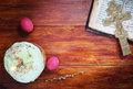 Composition About Christian Easter With Eggs And Burning Candle Stock Photography - 52619542