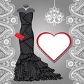 Black Party Dress,chandelier,label,paisley Border Royalty Free Stock Photography - 52621037