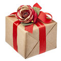 Red Rose Bow Gift Box Isolated Stock Image - 52628311