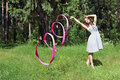 Beautiful Girl In Dress, Is Engaged In Rhythmic Gymnastics Stock Images - 52635134