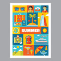 Summer Holiday - Mosaic Poster With Icons In Flat Design Style. Royalty Free Stock Image - 52636146