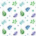 Watercolor Nature Seamless Vector Pattern (blue, Light Blue, Green Colors). Grass And Plants Pattern. Royalty Free Stock Image - 52640236