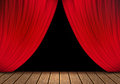 Opening Red Curtain And Wood Stage Background. Royalty Free Stock Photos - 52643808