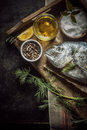 Uncooked Fresh Fish With Herbs And Spices Stock Photo - 52649730