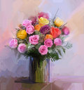 Still Life A Bouquet Of Flowers. Oil Painting Red And Yellow Rose Flowers In Vase Stock Image - 52655971