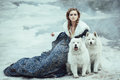 The Woman On Winter Walk With A Dog Royalty Free Stock Photos - 52659148