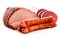Meat Products Including Ham And Sausages On White Royalty Free Stock Images - 52660629