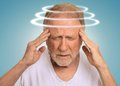 Headshot Senior Man With Vertigo Suffering From Dizziness Royalty Free Stock Photos - 52676798
