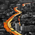 Traffic And Blurred Light Trails Royalty Free Stock Photography - 52677327
