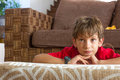 Portrait Of Young Boy Watching Tv At Home Stock Photos - 52678393