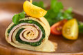 Crepe Roll Filled With Ham And Spinach Stock Photo - 52681130