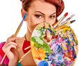Artist Woman With Paint Palette Stock Photos - 52695753