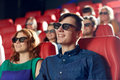 Happy Friends Watching Movie In 3d Theater Royalty Free Stock Photos - 52702498