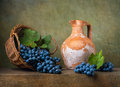 Still Life With Grapes On A Basket Royalty Free Stock Photography - 52715727