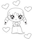 Girl With Hearts Coloring Page Royalty Free Stock Photos - 52718618