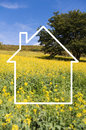 Silhouette Frame Of A House, Countryside Stock Images - 52740944