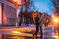 Snow Lovers Kiss City Royalty Free Stock Photography - 52741497