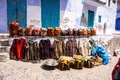 Handbags And Clothing Front Of The Shop, Chefchaouen, Morocco Royalty Free Stock Image - 52742066