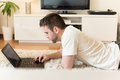 Man Typing On Laptop Stock Photography - 52754182