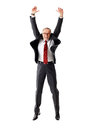 Mature Business Man Jumping On Isolated White Backround Royalty Free Stock Images - 52765459