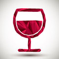 Red Wine Glass Geometric Icon Made In 3d Modern Style, Best For Royalty Free Stock Image - 52768186