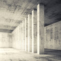 3d Square Empty Interior With Concrete Walls And Columns Royalty Free Stock Photos - 52785648