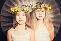 Smiling Sisters, Portrait With Flowers Royalty Free Stock Image - 52794606