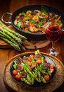 Green Asparagus Salad With Roasted Mushrooms Stock Images - 52797044