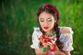 Sensual Girl With Red Lips Playing Cherry, Pin-up Stock Image - 52803291