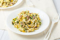Scrambled Eggs With Red Onion And Herbs Stock Images - 52803634
