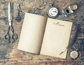 Open Journal Book And Vintage Writing Tools. Memories. Retro Sty Stock Photography - 52809682