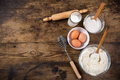 Baking Ingredients On Brown Wooden Table Stock Image - 52812951