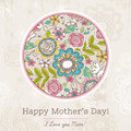 Mother S Day Card With Big Round Of Spring Flowers,  Vector Royalty Free Stock Photo - 52822125