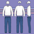 Sweatshirt, Cap And Jeans Set Royalty Free Stock Images - 52833099
