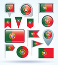 Collection Flag Of Portugal, Vector Illustration Royalty Free Stock Image - 52839696