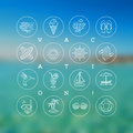 Summer Vacation, Holidays And Travel Signs And Symbols Stock Photography - 52842862
