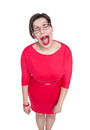 Crying Beautiful Plus Size Woman In Glasses Isolated Stock Photography - 52844022