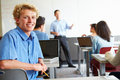 Male High School Student Using Laptop In Classroom Royalty Free Stock Images - 52846639