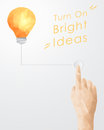 Hand Pressing Button Turning On Light Bulb Stock Photo - 52853630