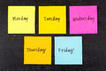 Days Of Week Sticky Notes Royalty Free Stock Image - 52855106