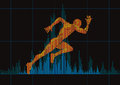 Concept Of A Running Man And Digital Equalizer. Stock Photo - 52870220