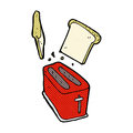 Comic Cartoon Toaster Spitting Out Bread Royalty Free Stock Image - 52924246