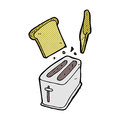 Comic Cartoon Toaster Spitting Out Bread Stock Photography - 52953982