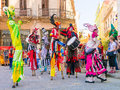 Stiltwalkers Dancing To The Sound Of Cuban Music In Havana Royalty Free Stock Image - 52992526
