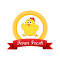 Emblem With Cute Chicken Royalty Free Stock Photography - 52997537