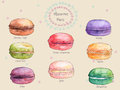Set Of Watercolor Different Taste French Macaroons,collection Of Variation Colorful French Macarons Royalty Free Stock Images - 53015999