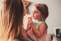 Cute Toddler Girl Playing With Mother At Home Stock Images - 53024144